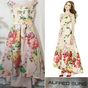 Alfred Sung Blush Bouquet Hi Low Dress D722 FP